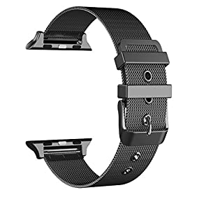 GEOTEL Milanese Loop(2.0 Version) Stainless Steel Bracelet Strap Band for Apple Watch Series 2 Apple Watch Series 1 Apple Watch Sport Apple Watch Edition with Classic Buckle (38mm-BLACK)