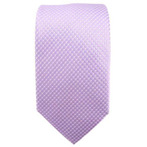 étroit TigerTie cravate en soie lila flieder argent à pois - cravate en soie