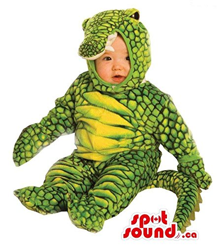 Kids Plush Alligator Costumes (Green And Yellow Cute Alligator Toddler Size Plush)