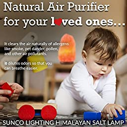 SUNCO 4 PACK - All Natural Himalayan Salt Lamp, Hand Crafted, Wooden Base w/ Bulb, Dimmer and UL Electric Cord. Crystal Lamp. Breath Easier, Relax, Great for Yoga and Meditation, Relieves Anxiety