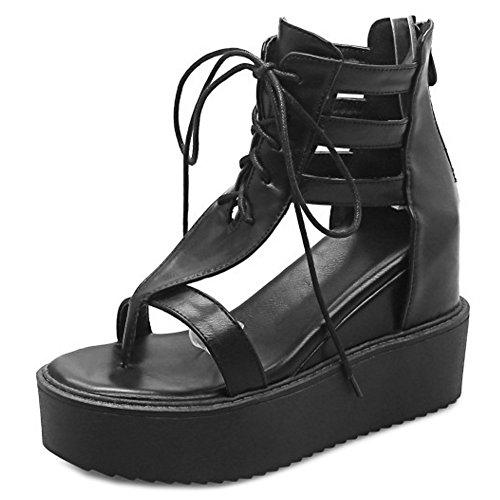 COOLCEPT Mujer Moda Cordones Sandalias En aumento Tacon de Cuna Zapatos With Cremallera Negro