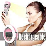 Electronics : Photo Shoot Selfie Ring Light Clip for iPhone iPad [Portable] Girl Night Light [36 LED Light Bulbs]for Perfect Face Slimming Brightness-Pink