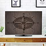 iPrint LCD TV dust Cover,Compass,Drawing of a Sailing Compass on a Wooden Surface in Computer Generated Art Decorative,Umber Dark Brown,3D Print Design Compatible 50''/52'' TV