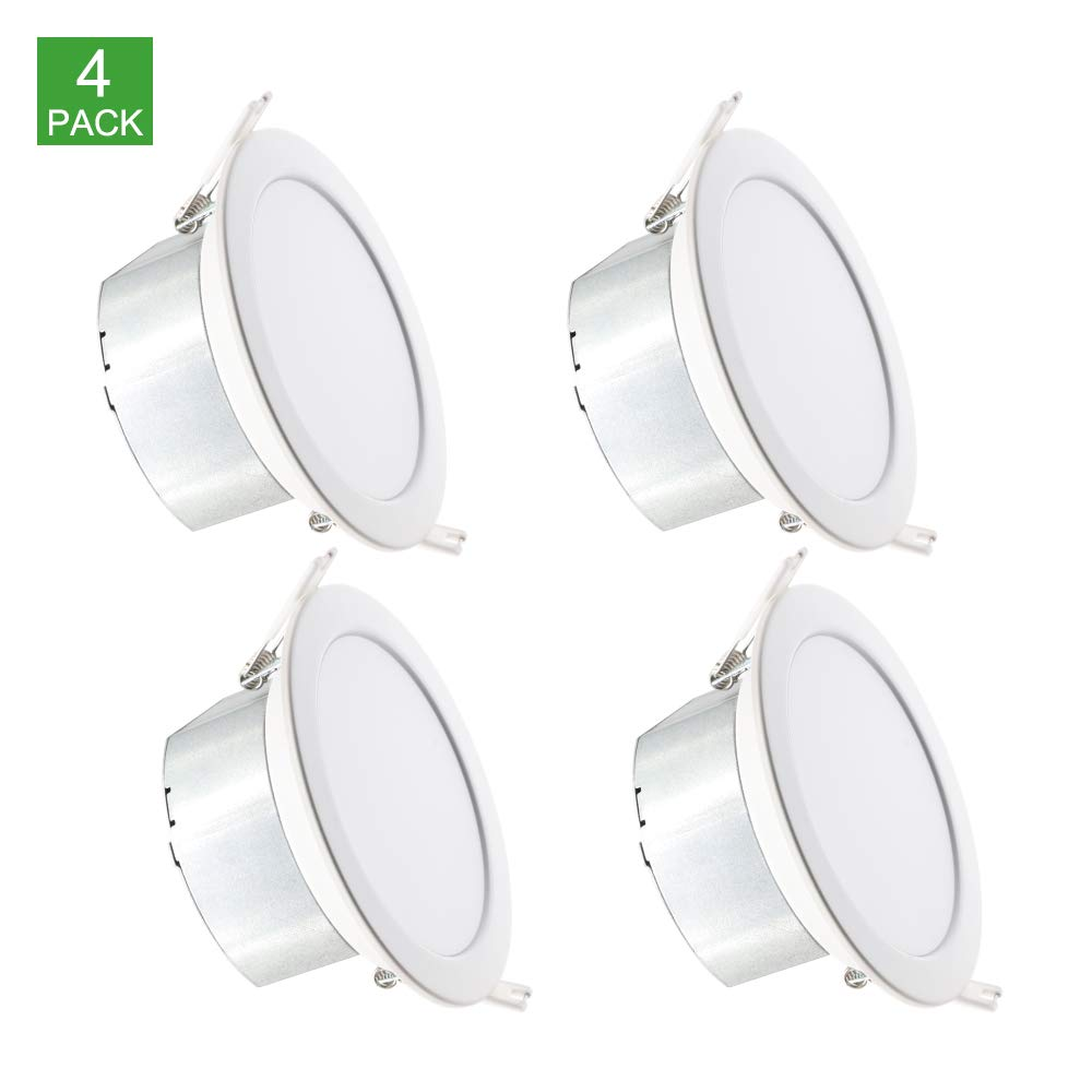 Dimmable Slim Led Downlight 4 Inch,3000K White,11W(65w equilvalent),750LM, CRI80,ETL Listed, Recessed Lighting Retrofit with Junction box, 5-year Warranty (4pack)