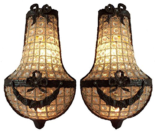 Egypt gift shops 2 Antique Patina Brass Crystal Glass Beads French Empire Style Cage Basket Wall - French Wall Lighting