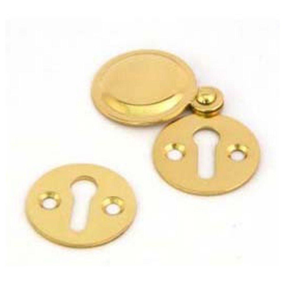 Victorian Brass Open Keyhole Escutcheons Twin Pack 32mm Diameter