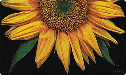 Toland Home Garden Sunflowers on Black 18 x 30-Inch Decorative Floor Mat Sunflower Portrait Flower Doormat