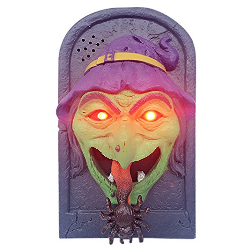Halloween Horror Doorbell Scary Sounds Skull/Witch Pattern Tongue Out HuaForCity Festival Prop Decorations for Holidays Festival Toys Games Party]()