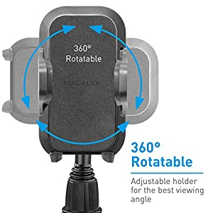 Macally Car Cup Holder Phone Mount with Longer Neck & 360° Rotatable Cradle for iPhone X 8 8 Plus 7 7+ 6s 6 SE, Samsung Galaxy S9 S9+ S8 S7 Edge S6 Note 5, Smartphones, GPS etc. (MCUPXL)