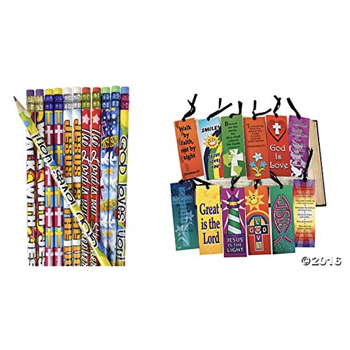 2 Dozen (24) RELIGIOUS Pencils & (24) BOOKMARKS - VBS Classroom Rewards #2 Lead - TEACHER Education JESUS GOD Loves Me ()