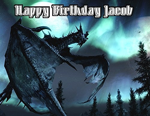 Skyrim Dragon The Elder Scrolls Image Photo Cake Topper Sheet Personalized Custom Customized Birthday Party - 1/4 Sheet - 76741 (Scroll Birthday)