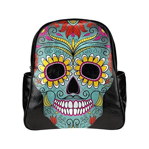Custom-Day-Of-The-Dead-Skull-PU-Leather-Student-School-Bag-Multi-pocket-Backpack