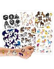 100 tatuaży do naklejenia - przyjazne dla skóry dzieci tatuaże konie - przyjazne dla dzieci wzory - jako prezent urodzinowy lub pomysł na prezent - Vegan.