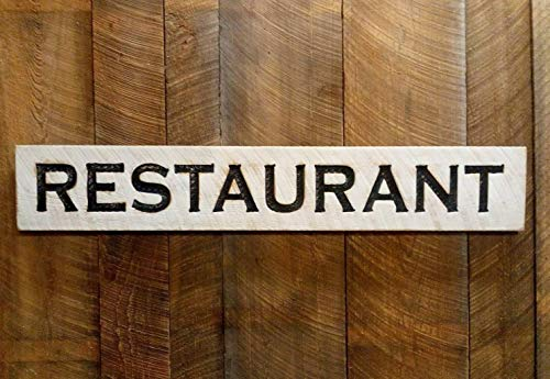 """Large Restaurant Sign 48""""w x 8""""t Carved in Wood Distressed Finish"""