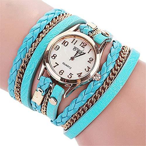 Windoson Leather Belt Weaving Watch Winding Around Ring Bracelet Watch Creative Hanging Chain Women's Quartz Watch (Mint Green)