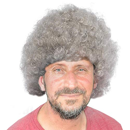 NA Silver Curly Afro Wig Fancy Dress Party Costume Accessory Disco Clown 70s -