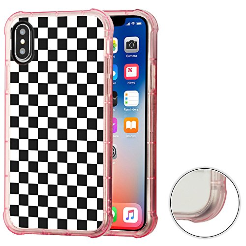 Protector Case Checkers (Corner Guard Case for Apple iphone X, One Tough Shield Premium Shock Absorbing TPU (Pink Bezel) Protector Phone Case - Checker B/W)