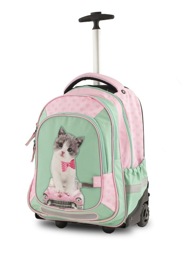 Studio Pets Trolleyrucksack/Trolley mit 3 Reißverschlussfächern Kitty Cute Mallette Ordinateur à roulettes, 47 cm, 32 liters, Multicolore (Kitty Cute) 18SP-201-KC
