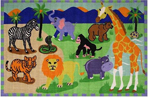 Rugs 4 Less Animal Kingdom Elephant Lion Zebra Tiger Snake Money Safari Park Kids Area Rug 39