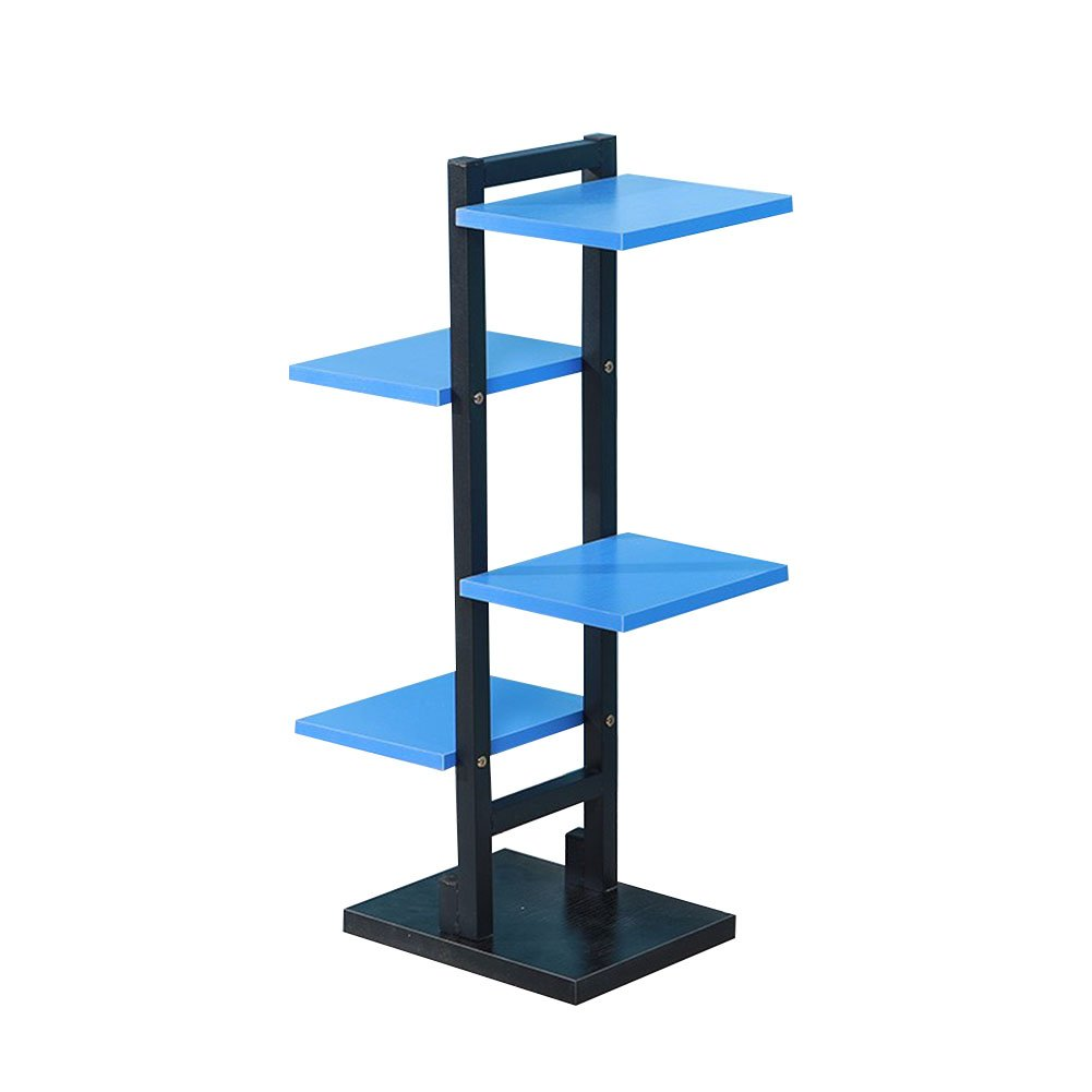 CSQ Stand in Ferro battuto pianta Stand, 4 ° Piano Indoor Multifunzione Piante in Vaso Assemblea Flower Stand Ufficio Blu tavola di Legno Ripiano per Fiori (colore   nero)