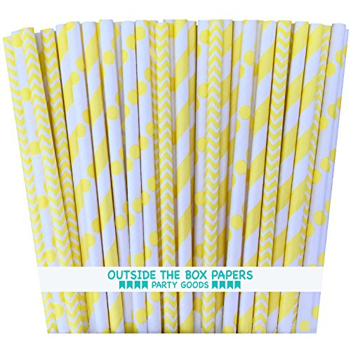 Outside the Box Papers Yellow Stripe, Chevron and Polka Dot Paper Straws-7.75 Inches-Pack of 75