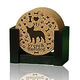 ''I love my French Bulldog'' premium coaster set. 4'' round 3/8'' thick cork drink coasters. Add a rustic or urban design Coaster Holder or 9'' Trivet. USA made by Ozarks Fehr Trade Originals