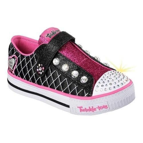 Skechers Kids Girls' Shuffles-Sparkly Jewels Sneaker, Black/Hot Pink, 1 M US Little (Sparkly Girls)