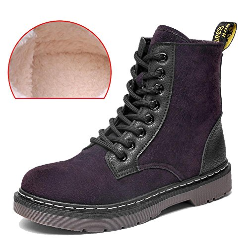 Women Retro Martin Short Boots Suede Leather Flat Heel Thicker Plush Winter Warm Casual Shoelace Ankle Shoes BROWN-36 Hin48