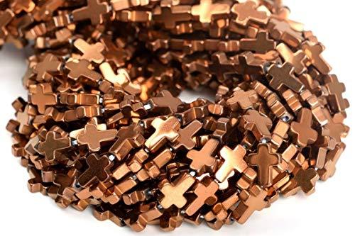 8x6MM Rose Gold Hematite Cross Grade AAA Natural Gemstone Loose Beads 7.5