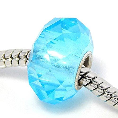 Pro Jewelry Aquamarine Bead Compatible with European Snake Chain Bracelets (Bracelets Murano Aqua)