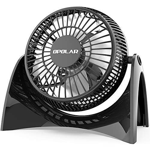 OPOLAR Super Quiet Desk USB Fan, Maximal 40db, Perfect Table Fan, Small Size, 2 Speeds, 360° Rotating Free Adjustment Personal Fan for Home,Office and Dorm-White