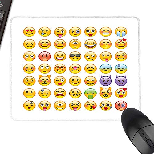 Emoji Anti-Slip Mouse Mat Set of Emoticons with Various Expressions Alien Vomiting Beaten Up in Love Vampire with Stitched Edges 11.8