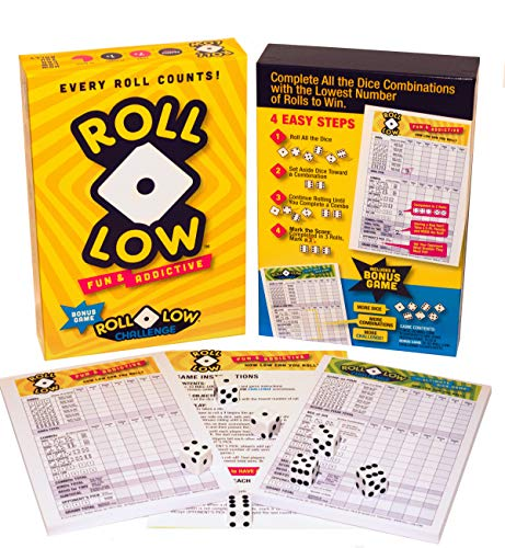 2 New Dice Games: Roll-Low & Roll-Low Challenge. Use Strategy, Probability and Luck to Match Dice Combinations in The Fewest Rolls to Win. Close Scores Make it Exciting Every Roll.