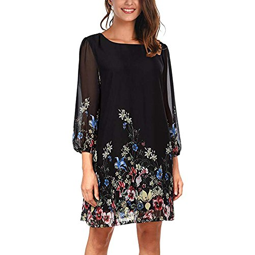 HITRAS Women's Casual Holiday Floral Pattern Loose Fit Three Quarter Chiffon Dress