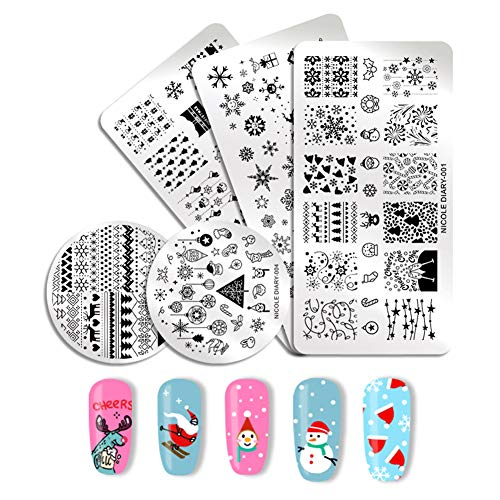 NICOLE DIARY Nail Stamping Plate Christmas Series Rectangle Round Nail Stamp Image Templates Nail Art Transfer Plate DIY Manicure Nail Art Tool (111049)