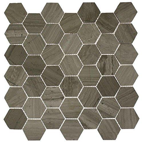 "Splashback Tile HEXAGON WOODEN BEIGE 12"" x 8mm Mosaic Flo..."