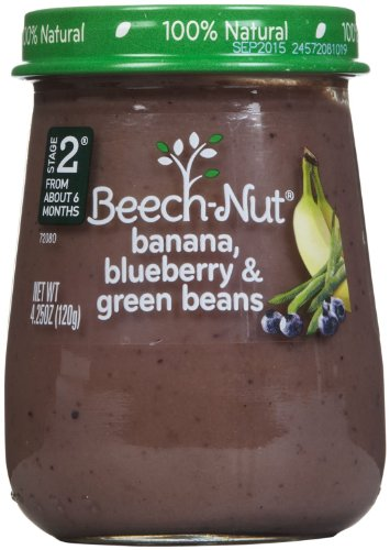 Stage 2 Banana Blueberry & Green Beans (Pack of 10) by Beech-Nut