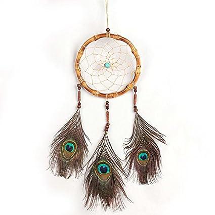 Crafts Ornament Handmade Dream Catcher Peacock Feather
