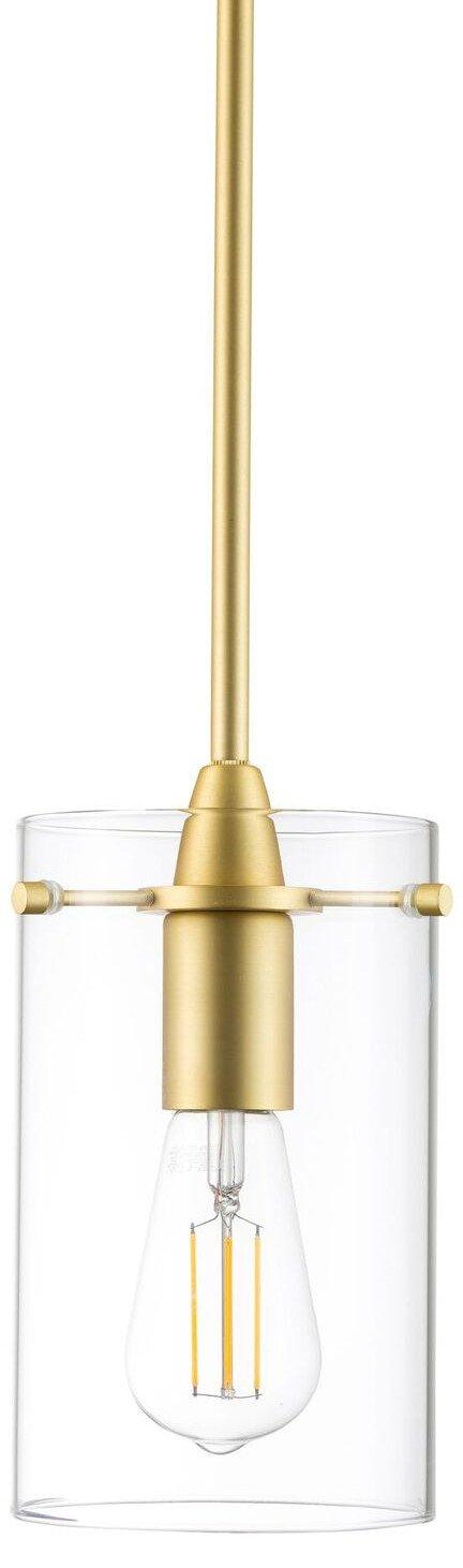 Effimero Medium Hanging Pendant Light - Satin Brass w/Clear Glass - Linea di Liara LL-P313-SB