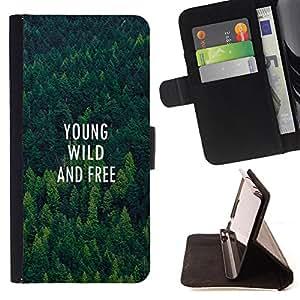 King Art - Premium-PU-Leder-Prima caja de la PU billetera de cuero con ranuras para tarjetas, efectivo Compartimiento desmontable y correa para la mu?eca FOR Sony Xperia Z3 D6653- Young Wilb and Free