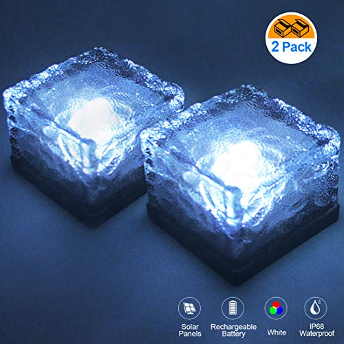 (LETOUR Solar LED Landscape Lights, Outdoor RGB Brick Lights, Waterproof Path Light, Solar Panel & Rechargeable Battery Include, Square Cube Rock Lights for Garden Courtyard Pathway 2 Pack (Cold White))
