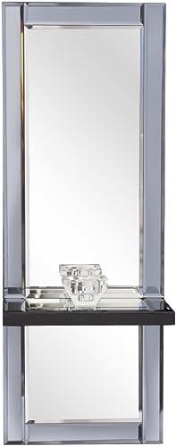 Howard Elliott Emerson Modern Decorative Hanging Wall Mirror with Shelf, Candleholder, 24 x 9 Inches
