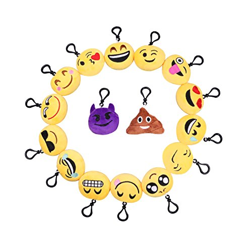 Emoji Plush Pillows Key Chian, SYZ Soft Mini Smile Yellow Face Bedding Pillow Party Supplies Favors for Kids Novelty Graduate Prizes Poop Key Chain Bag Decorations Clip Toy 2 Inches (16 PACK)