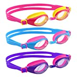 [3 Pack] Swimming Goggles, HeySplash Water-tight Seal Silicone Cute Design Diving Glasses