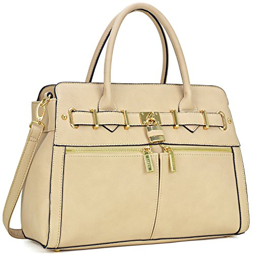 Women Padlock Briefcase Vegan Leather Satchel Handbags Shoulder Bag Work Purse with Double Front Pockets - With Small Satchel Strap