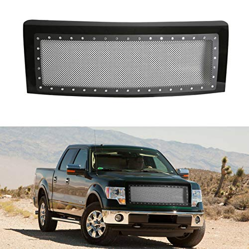 Stainless Mesh Rivet Upper Bumper Front Hood Grille Fits 09-14 F150 W/Shell