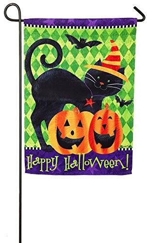 Evergreen Halloween Cat Suede Garden Flag, 12.5 x 18 inches