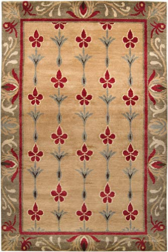Area Rug 5x8 Rectangle Transitional Mushroom Color - Surya Arts and Crafts Rug from RugPal