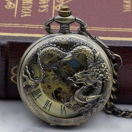 懐中時計、フライングドラゴンメカニカルスケルトンスチームパンク懐中時計チェーンフォブ時計