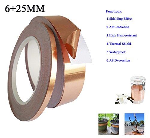 Rose Gold Foil Washi Tape(25mm+6mm X 30M) Wedding Washi Tape - Copper Washi Tape - Metallic Foil Washi Tape - Plain Washi Tape Electrical Repairs Paper Decor - Scrapbooking -